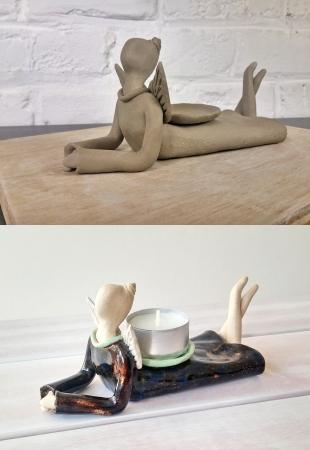 ceramicsbyiza - angel candleholder